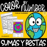Dia de la Tierra - Colorea Segun el Numero - Sumas y Restas