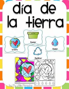 Día de la tierra-Earth Day Color by number with 4 bonus po