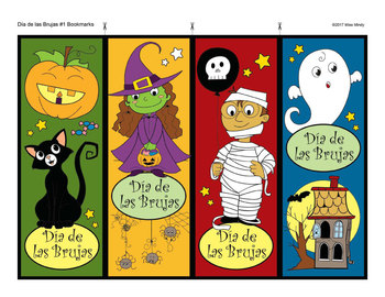 Spanish Halloween Bookmarks for Coloring - Día de las Brujas Marcadores de Libro