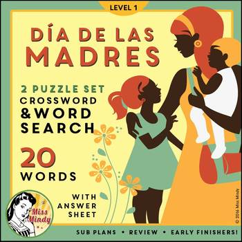 Día de las Madres: Spanish Mother's Day Vocabulary Word Search Crossword Puzzles