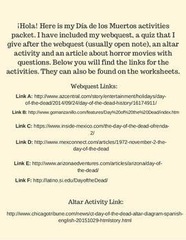 Día de los Muertos Activity Packet