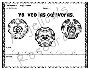 Dia de los Muertos Activity: Palabras de uso frecuente - Traza oraciones