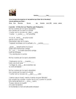 Día de los Muertos Cloze Song Activity and Discussion