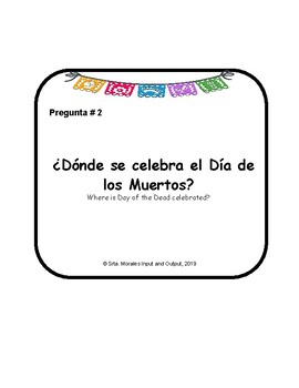 Día de los Muertos Comprehension Questions Cards