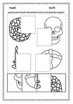 Dia de los Muertos - Day of the Dead Cut and Paste Activities, PreK-3, No Prep