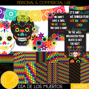 Dia de los Muertos {Day of the Dead} Digital Paper & Clip Art Set