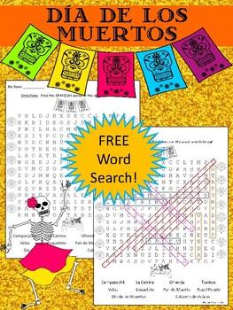 Día de los Muertos / Day of the Dead FREE!!! Word Search