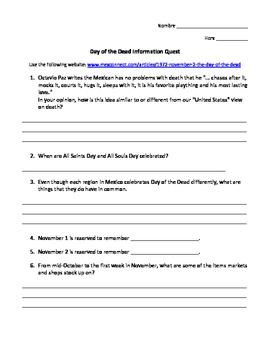 Dia de los Muertos (Day of the Dead) Information Quest