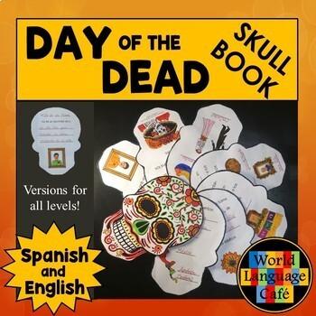 Day of the Dead Mini Book, Día de los Muertos Skull Mini Book English, Spanish