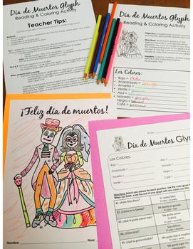 Día de los Muertos Glyph - Read and Color - Elementary Novice Level