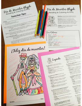 Día de los Muertos Glyph - Read and Color - Intermediate Level