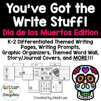 Dia de los Muertos K-2 Writing Paper, Prompts, Centers, Word Wall, & More!