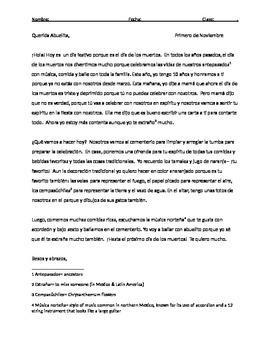 Dia de los Muertos Letter Activity