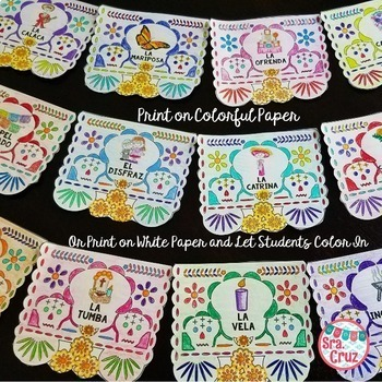 Dia de los Muertos Papel Picado Banner (Ink-Friendly Black & White Format)