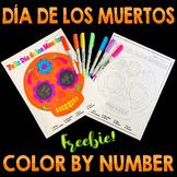 Día de los Muertos Spanish Color by Number FREEBIE