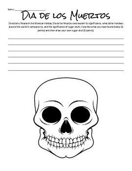 Dia de los Muertos Worksheet by myrapunzal | Teachers Pay Teachers