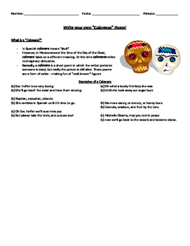 Dia de los Muertos Write a Calaveras Poem Activity