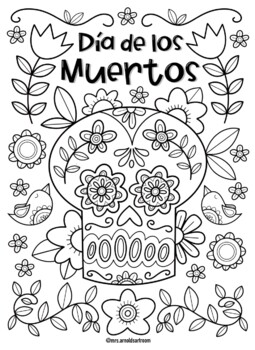 Dia De Los Muertos Coloring Page By Mrs Arnolds Art Room Tpt
