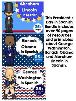 El dia de los Presidentes Bundle (Washington, Lincoln y Obama) Spanish