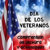 Día de los Veteranos Lectura de Comprensión - Reading Comprehension in Spanish