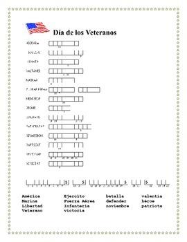 Dia de los Veteranos - Veterans Day- Word Search and Double Puzzle in Spanish