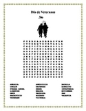 Dia de los Veteranos - Veterans Day- Word Search and Doubl