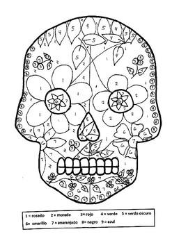 Dia de los muertos Skull / Day of the Dead Skull (Color by Number)