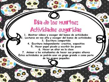 Dia de los muertos bulto de actividades en Espanol