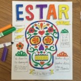 Dia de los muertos ~color by verb conjugation Estar Day of the dead ~calavera