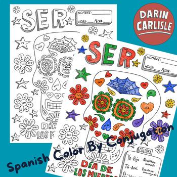 Dia de los muertos ~color by verb conjugation ~Ser ~Day of the dead ~calavera