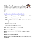 Dia de los muertos video worksheet