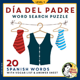 Día del Padre: Spanish Father's Day Vocabulary and Word Search Puzzle