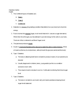 Diabetes Outline; Answers