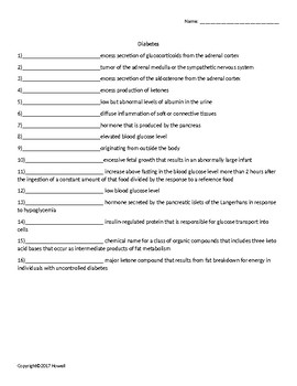 Diabetes Quiz or Worksheet for Nutrition and Health Students
