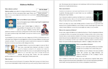 Diabetes - Reading Article - Grade 8 and Up