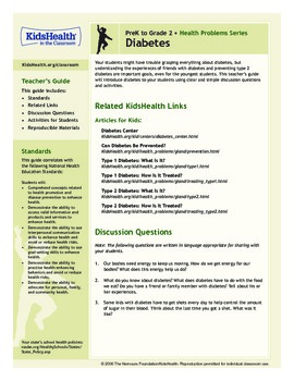 Diabetes Teacher's Guide (Pre-K to Grade 2)