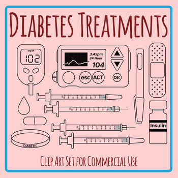 Diabetes Treatments Black and White Clip Art Set for Commercial Use