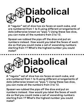 Diabolical Dice: Combinations, Patterns and Problem Solving and MORE!