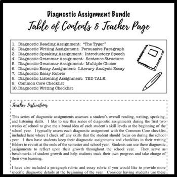 Diagnostic Assignment Bundle for High School ELA