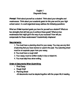 Narrative Essay Topics For High School Diagnostic Essay Best English Essays also English Debate Essay Diagnostic Essay By Wheel Reinvented  Teachers Pay Teachers How To Write A High School Application Essay