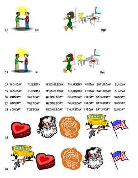 Diagnostic Test Elementary Colors Days Numbers Holidays Family Greetings