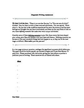 Diagnostic Writing Assignments