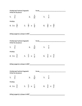 Diagnostic for Multiplying Fractions