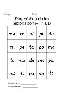 Dual Language Diagnóstico de las Sílabas/Syllable Assessments in Spanish