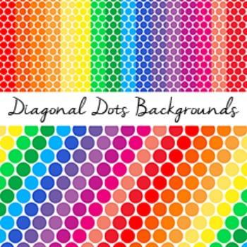 Diagonal Dots Digital Paper: Rainbow Pattern and 16 Single Colors