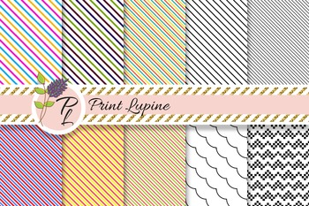 Diagonal Oblique Line Paper Set. Straight, wave, zigzag thin stripes printable.