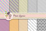 Diagonal Oblique Line Paper Set. Straight, wave, zigzag th
