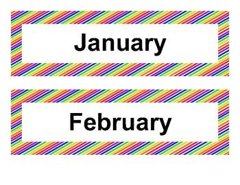 Calendar Items - Diagonal Rainbow Theme