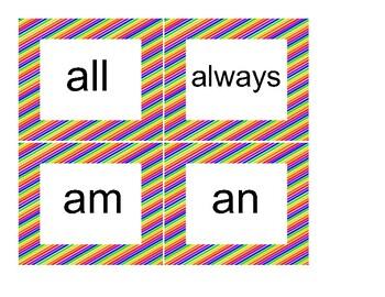 Sight Words - Diagonal Rainbow Theme