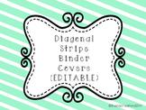 Diagonal Striped Binder Covers {EDITABLE}